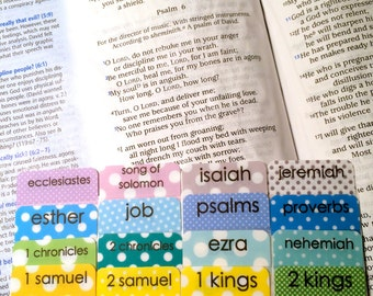 CATHOLIC Colorful Polka Dots Books of Bible Tabs by Victoria Anderson