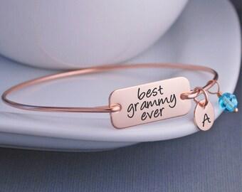 Rose Gold Best Grammy Ever Bracelet, Rose Gold Bangle Bracelet, Mother's Day Gift for Grammy, Rose Gold Bracelet for Grammy