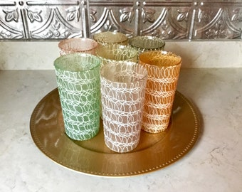 Vintage Spaghetti String Glasses / Set Of 7 Tumblers / Mid Century / Atomic Age / Collectibles /  Home & Living / Drink and Barware