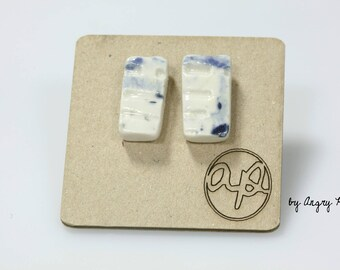 Small rectangular earrings ceramic blue and white