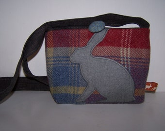 Hare and tweed bag.  Rabbit and tweed handbag, red, blue, tartan, gift for her, wildlife lover gift, Christmas, birthday gift, hares,