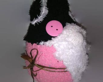 Pink and Black Sock Gnome / House Gnome / Tomte / Tomtenisse / Nisse / Tonttu / Garden Hermit / Kitsch Gnome / Travelling Gnome