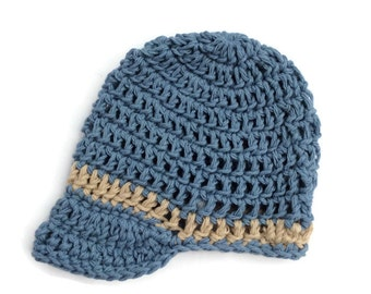 Cotton visor beanie for newborn baby boy in blue and taupe