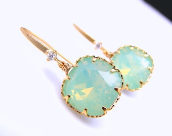 christmas gift bridesmaid prom party swarovski chrysolite opal square foiled back crystal rhinestone cubic zirconia deco gold hook earrings
