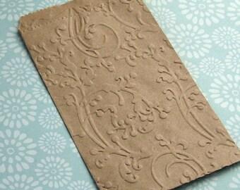 20 Small Kraft Paper Bags Embossed Flourish Vines 3 1/4 x 5 1/4 inches - Wedding Confetti Bag