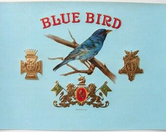 1920s Bluebird Blue Bird Birder Antique Inner Cigar Label
