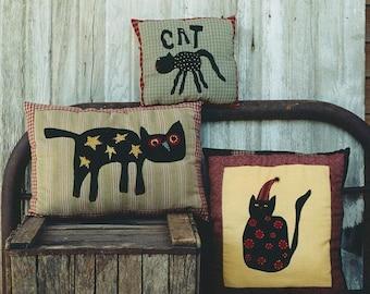 Primitive Halloween Pillow Pattern EPattern PDF Black Cat Pillows Applique Needlepunch Folk Art Folkart Hickety Pickety AS10