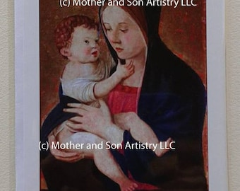 Card with Madonna and Child, by Bellini. Blank card with envelope.