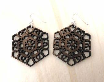 Sacred Geometry Wooden Earrings - Walnut Wood - Laser Cut - Wood Earrings - Geo2