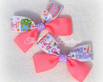 Birthday Clippies, Bright Pink Bow, Pink Birthday Bow, Hot Pink Party Bow, Small Birthday Bow, Birthday Pigtails, Birthday Hair Bow
