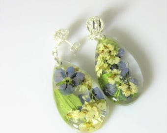 Soft Blossoms , Real  Flower  Post  Earrings Pressed Flowers Jewelry, Resin (3053)