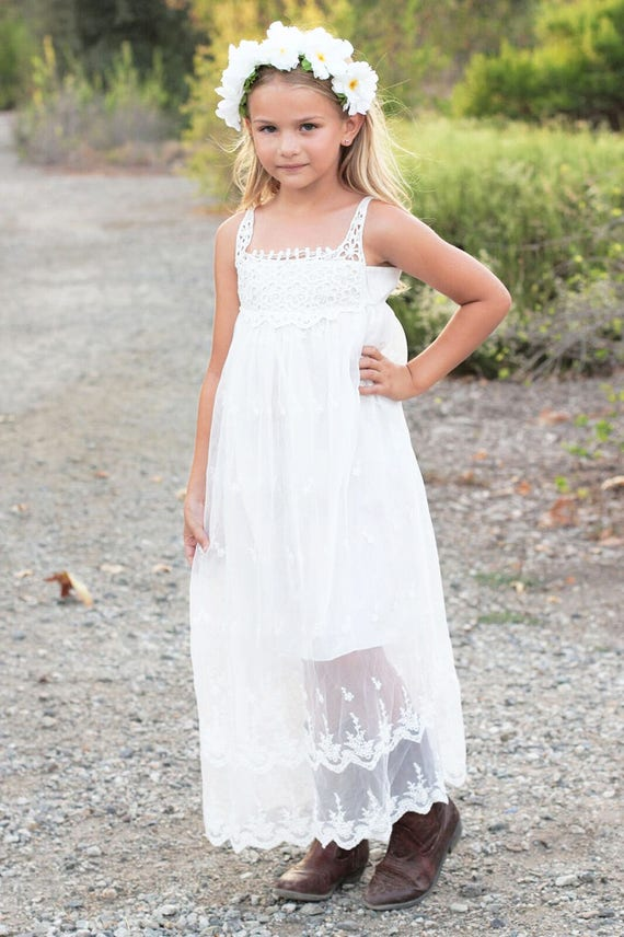 Flower Girl Dress, Boho flower girl dress, Lace girl dress, Lace baby Dress,Country White Bohemian Flower girl, Beach Girl Dress,Chloe Dress