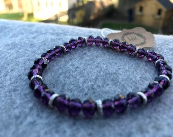 Bracelet with purple crystals
