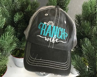 Ranch Wife - Super Cute Unstructured Trucker Hat/Cap - Proud to be a Ranch Wifey!  Turquoise/White
