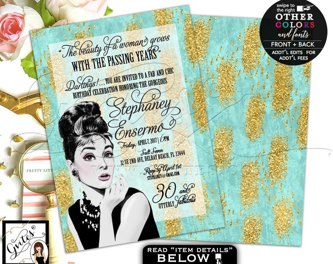 """30th Birthday Invite, Audrey Hepburn Printable Invitation, Turquoise and Gold, Audrey Quote, Double Sided, Digital, DIY, 5x7"""" Gvites"""