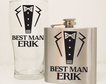 Beer Mug and Flask Personalized Gift Set, Wedding Party Favors for Groomsman, Thank You Gift for Best Man, Custom Beer Mug, Flask with Name