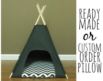 "Cat/Dog Tent Pet Teepee- Small 24"" base Black Canvas  PICK YOUR PILLOW - Ready to Make or Custom Order it - Tenthouse Suite by Vintage Kandy"