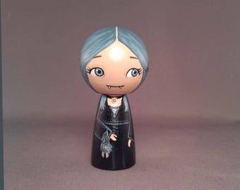 Little Vampire girl with bat Wooden Handpainted Kokeshi Doll