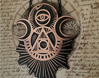 Ascension Talisman Necklace - Handmade and one of a kind - drawn, etched and cut by hand