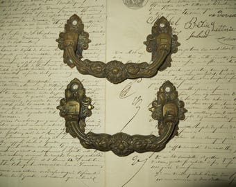 Pair of Antique French Brass Handles