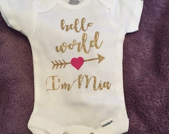 """Adorable """"hello world"""" onesie Girl or Boy personalized with baby name"""