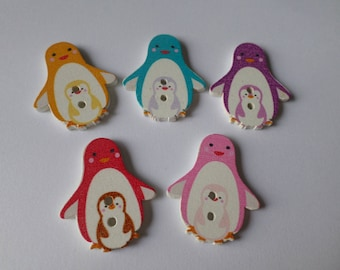 x 5 mixed buttons wooden Penguin MOM and baby 2 holes 2.8 x 2.5 cm