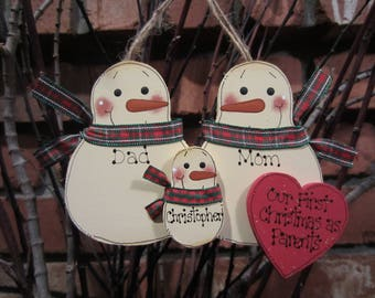 Family of 3: Our First Christmas as Parents, Personalized Snowman Ornament, Personalized Family Ornament, Family of 3 Ornament, New parents