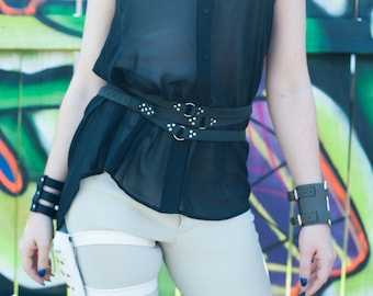 Leather TRIPLE WRAP Belt in Black & Silver