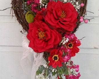 Romantic Silk Flower Heart Wall Arrangement
