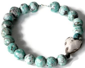 Raku necklace TURQUOISE bold beads crakled WHITE HEART a la Wilma Flintstone
