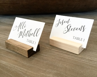 Place card holder, wood escort card stand, wedding seating chart,