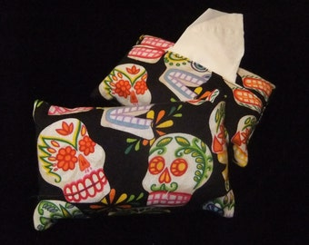 Pocket Tissue Holder, Sugar Skulls in Multicolor Print; Travel Tissue Case