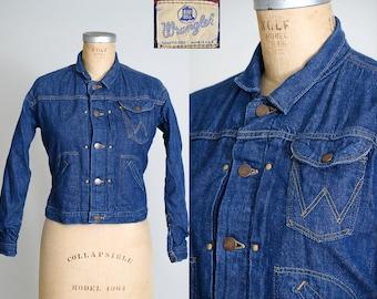 1950s Wrangler Blue Bell Indigo Denim Blanket Lined Jean Jacket Western Ranch Hand Selvedge Cone Denim Jacket