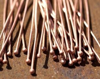 Handmade Copper Ball Headpins 20 gauge - 2 1/4 inch long - 57mm - 25 pieces