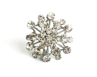 Atomic pendant, atomic brooch, silver brooch, rhinestone brooch, cluster brooch, 1960s brooch, 60s brooch
