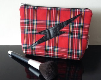 Tartan cosmetic bag with lightening bolt
