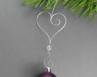 Heart Christmas Tree Ornament Hooks - Wire Christmas Ornament Hangers - Handmade Christmas Decorations