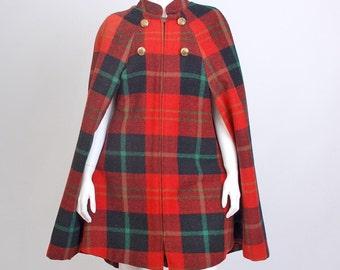 Vintage 60s MOD Wool Tartan Plaid Cape