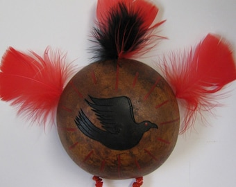Raven Totem Shield , Raven Medicine , Gourd Art , Totem Shield , Pyrography , Black and Red , Double Terminated Quartz , Synthetic Red Coral
