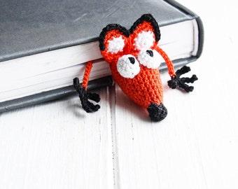 Unique Gift, Gift For Teacher, Crochet Bookmark Fox, Knitted Bookmark, Cute Gift, Crochet Fox, Bookmark, Crocheted bookmark, Amigurumi fox