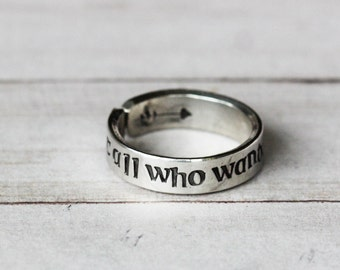 Not All Who Wander Are Lost Tolkien Quote Pewter Ring - Hand Stamped jewelry quote ring, Inspirational Jewelry | Gift for Her