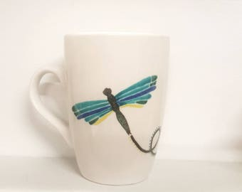 Dragonfly Learn to Fly Motivational tea cup mug handpainted OOAK quote saying glassware drinkware bar novelty inspire believe shine dream