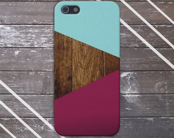 Teal Dark Wood Maroon Geometric Case,  iPhone X, iPhone 8 Plus, Protective iPhone Case, Galaxy s9, Samsung Galaxy Case Note 8, CASE ESCAPE
