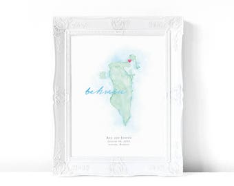 Bahrain Watercolor Map | Destination Map Print | Personalized Watercolor Map | Honeymoon Map | Anniversary Map | Watercolor Wedding Map