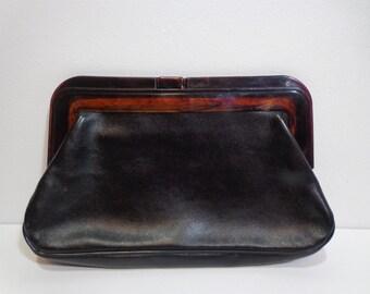 Vintage 80s Leather and Tortoise Trim Margolin Clutch Purse, Handbag, Pocketbook, Boho, Retro Style Fashion Accessory