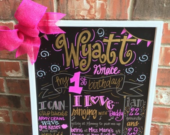 Girl first birthday chalkboard, gold and pink birthday chalkboard, hand painted birthday sign