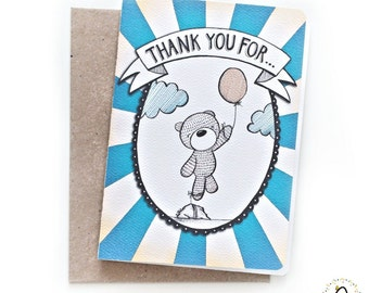 Whimsical A6 Thank You Card - A Balloon, A Teddy Bear & A Rock
