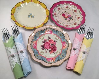 Disposable Plate & Flatware with Silver Teapot Charm Napkin Ring, Vintage Tea Party Supplies,