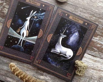 Little Notebooks for those who believe in magic. x2 /unicorn/white hare/A6/C6 size/36 Plain Pages By Karen Davis