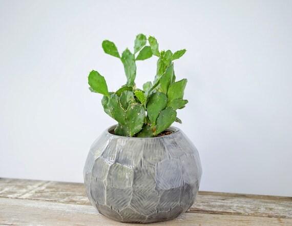 Gem Facet Planter Globe Pot Porcelain Pottery Ceramic Plant Container Chose Color IN STOCK